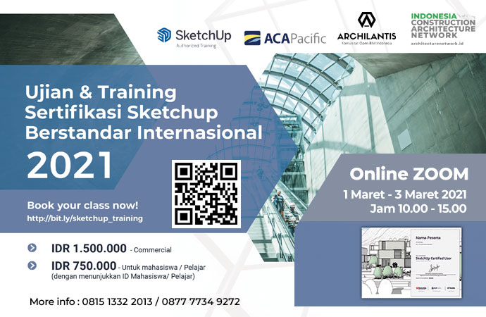 International SketchUp Training & Certification 2021 - Sketchup ACA x Archilantis - ICAN web banner